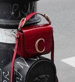 ■專櫃75折 ■2019秋冬 全新真品Chloe C Mini 鱷魚壓紋迷你小牛皮兩用包 櫻桃酒粉色