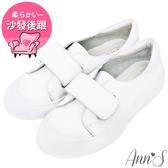 Ann'S餅乾家族-魔鬼氈全真皮小白鞋-白
