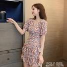 法式小碎花連身裙v領短袖2021年新款收腰顯瘦氣質仙女雪紡裙 polygirl