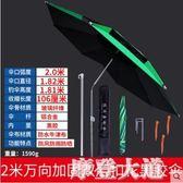 驢夫釣魚傘1.8/2/2.2/2.4/2.6米萬向折疊防紫外線加厚加固黑銀膠QM『摩登大道』