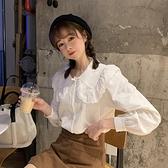 娃娃領設計感小眾白色襯衫女夏季2021新款韓版寬鬆百搭長袖上衣潮 【端午節特惠】
