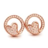 耳環 925純銀鑲鑽-鏤空心型生日聖誕節交換禮物女飾品2色73dm62[時尚巴黎]