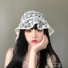 韓國鬼馬系少女自留很仙蕾絲花朵漁夫帽ins鏤空透氣遮陽盆帽子夏