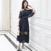 中大尺碼洋裝 雪紡露肩蕾絲拼接性感氣質舒適連衣裙  L-5XL #wm504 ❤卡樂❤