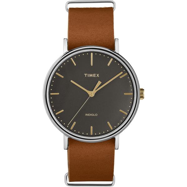 【TIMEX】天美時週末Fairfield系列時尚手錶(黑/金/咖啡 TXT2P97900)
