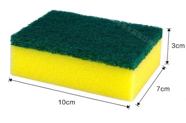 黃綠色高密度洗碗海綿 / 菜瓜布(1入) 9元