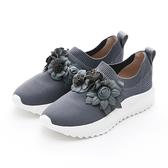MICHELLE PARK 花園 ‧ 立體花朵超輕量針織休閒鞋-灰