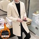 秋冬男裝加厚毛大衣韓版呢料外套修身風衣男中長款《蓓娜衣都》