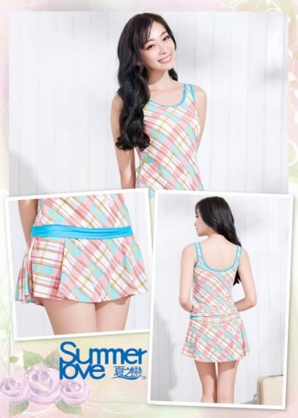 【SUMMERLOVE夏之戀】俏麗格長版二件式泳衣-S15703
