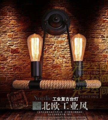 設計師美術精品館美式鄉村北歐臥室客廳餐廳燈過道鐵藝玄關走廊簡約雙頭麻繩壁燈