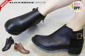 ALICE SHOES艾莉時尚美鞋 秋冬新款皮革素雅拉鍊低跟短靴@855@MIT台灣製造新品
