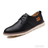 夏季透氣男鞋子青少年韓版商務正裝小皮鞋男士英倫風潮流休閒板鞋『艾麗花園』