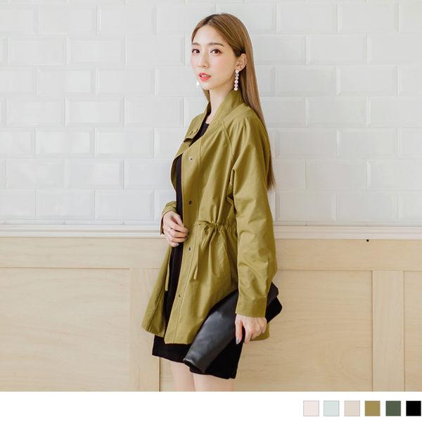 《EA1943-》多色輕防潑水腰抽繩寬鬆風衣外套.6色 OB嚴選
