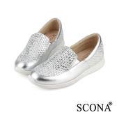 SCONA 全真皮 樂活輕量內增高休閒鞋 銀白色 7244-2