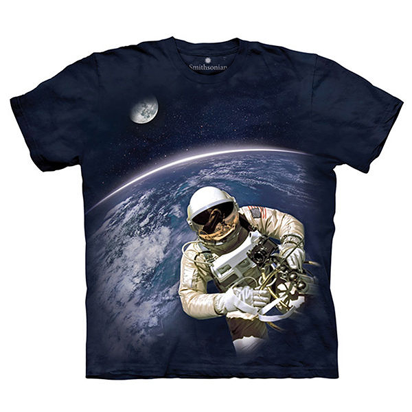 【摩達客】(預購)(大尺碼3XL)美國進口The Mountain Smithsonian系列 首次太空漫步 純棉環保短袖T恤