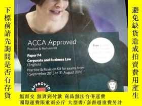 二手書博民逛書店ACCA罕見Approved Practice & Revision Kit Paper F4 Corporate