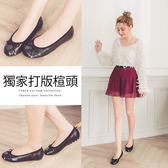 Ann'S甜美輕熟-質感蛇紋3D乳膠蝴蝶結平底娃娃鞋-黑