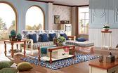 [紅蘋果傢俱] 238 地中海系列 美式 英式 仿古 L型沙發 布沙發 休閒椅 板椅 椅子 茶几 桌子