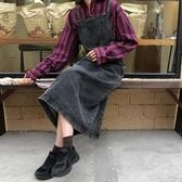 秋冬2019新款韓版小個子牛仔背帶裙潮中長款寬鬆後背綁帶洋裝女