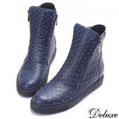 【Deluxe】全真皮搖滾龐克滿版鉚釘厚底短靴(藍)
