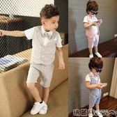 禮服 兒童小西裝套裝男童三件套韓版西服寶寶夏季小童英倫婚禮花童禮服  瑪麗蘇