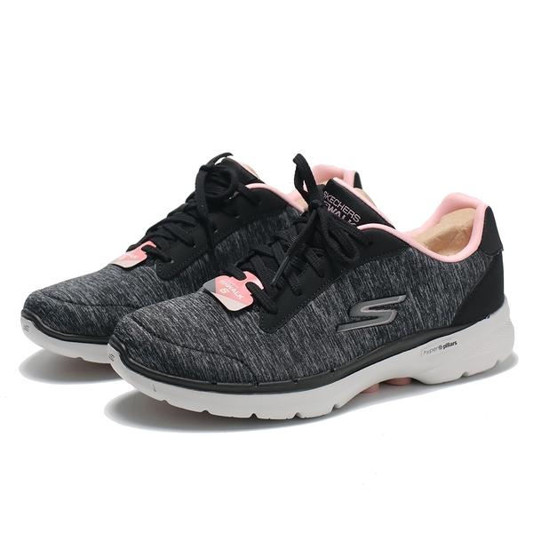 SKECHERS 休閒鞋 GO WALK 6 黑灰粉 綁帶 健走 女(布魯克林) 124506BKPK
