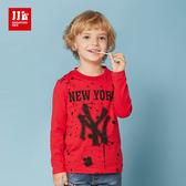 JJLKIDS 男童 紐約男孩潑漆印花純棉T(紅色)