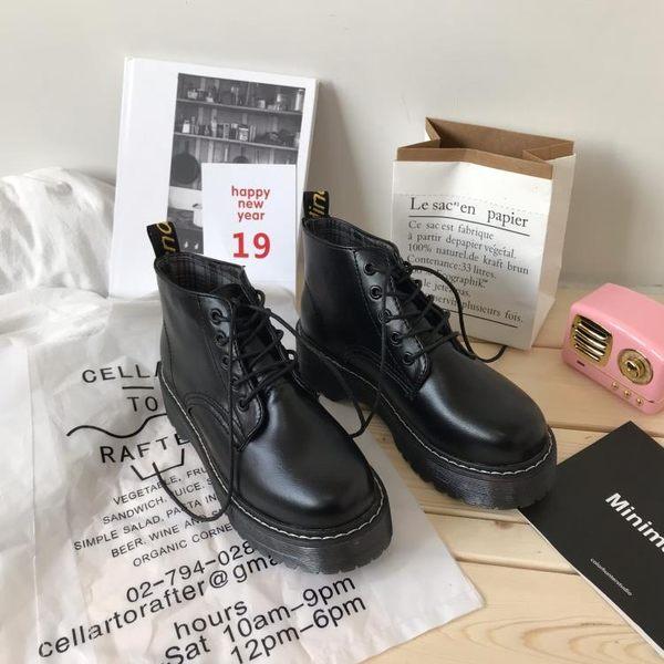馬丁靴韓版INS大熱英倫街拍PU馬丁靴女英倫風復古學院牛津厚底短筒可卡衣櫃