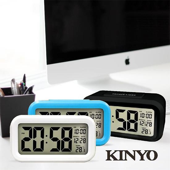 [哈GAME族]滿399免運費 可刷卡 KINYO 耐嘉 TD331 簡約光控聰明鐘 4.6吋液晶顯示 時間/日期/溫度