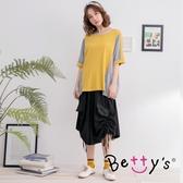 betty's貝蒂思 寬版側邊綁帶褲裙(黑色)