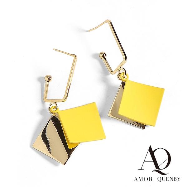 AQ 名媛風質感黃菱形耳環/耳針(AMOR Quenby)