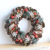 聖誕花環門掛北歐ins房間櫥窗藤條掛件酒店聖誕樹裝飾布置 qf33372【pink領袖衣社】