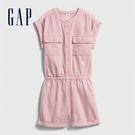 Gap女童 工裝風格圓領短袖連身褲 578394-純粉色
