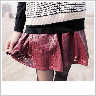 短裙 腰間彈性洞洞時尚皮裙【D2013】今年必備 ☆雙兒網☆ Naughty Trick