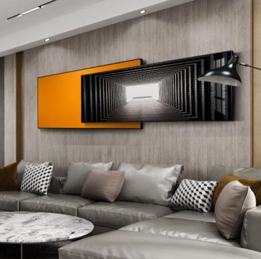 現代簡約客廳裝飾畫輕奢抽象沙發背景掛畫北歐風黑白臥室床頭壁畫MBS「時尚彩紅屋」