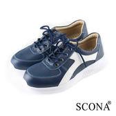 SCONA 蘇格南 全真皮 輕量高彈力綁帶休閒鞋 藍色 7282-2