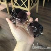 多邊形帶錬條眼鏡海洋色復古原宿遮陽墨鏡女ins眼鏡韓版潮太陽鏡 新年禮物