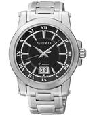 SEIKO 精工 Premier 羅馬主義大視窗時尚手錶-黑/銀 6N76-00B0D