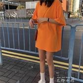 中長款t恤女短袖ins夏裝2020新款純色寬鬆港味復古百搭洋氣上衣潮 米娜小鋪