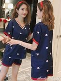 睡衣 睡衣女夏冰絲薄款兩件套韓版甜美可愛短袖短褲絲綢家居服春秋套裝 瑪麗蓮安