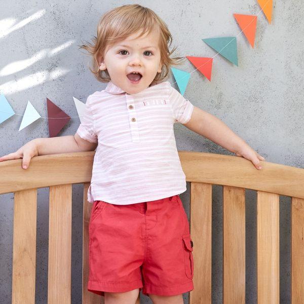 DaveBella 條紋短袖上衣+短褲 套裝2件組 DB3307