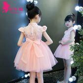 公主裙女童夏兒童粉色連身裙蓬蓬紗旗袍禮服
