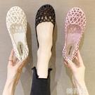 果凍涼鞋 包頭涼鞋女夏平底鏤空塑料網紅果凍護士鞋軟底透氣防滑洞洞沙灘鞋 韓菲兒