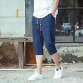 七分褲男士寬鬆直筒夏季亞麻薄款韓版潮流沙灘7分褲休閒棉麻短褲 科炫數位
