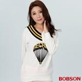 BOBSON 女款V領拼色印花上衣(38076-81)