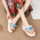 泰國度假涼拖鞋女夏季波西米亞民族風人字拖女坡跟厚底海邊沙灘鞋 依凡卡時尚