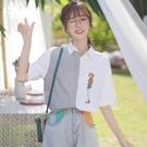 帛卡琪2020新款港風條紋短袖襯衫女寬鬆學生刺繡不對稱半袖襯衣夏 陽光好物