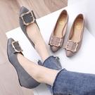 楔形鞋.MIT優雅格紋金屬釦飾尖頭坡跟包鞋.白鳥麗子