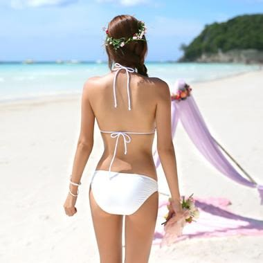 泳衣泳裝比基尼 je bikini 韓版二件式 白色針織 綁帶 顯瘦 質感佳 鋼圈 泳衣【351a】