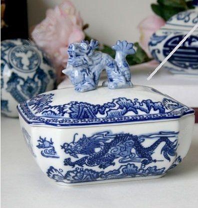 創意家居陶瓷景德鎮青花龍蓋盒